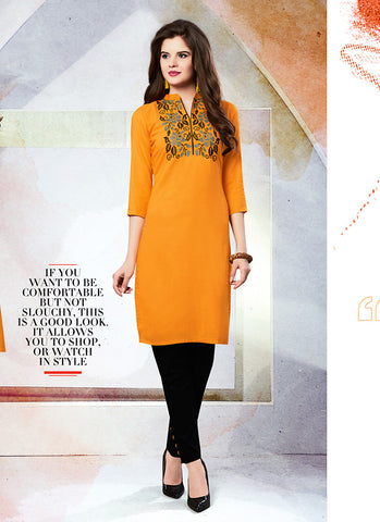 Orange Color Cotton in Incredible Straight Kurti Style