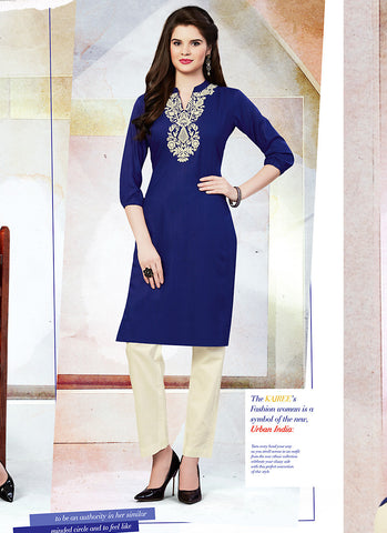 Cotton Blue in Incredible Straight Kurti Style