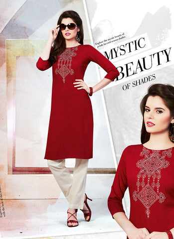 Incredible Straight Kurti in Maroon