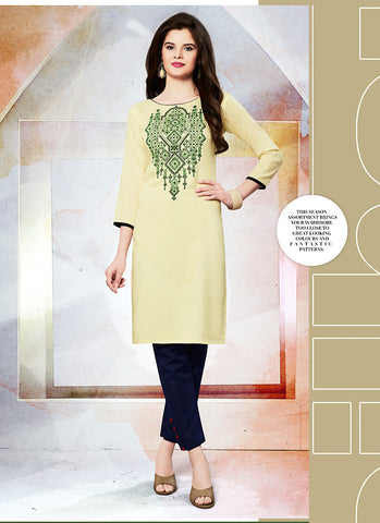 Yellow Incredible Straight Kurti Style in Cotton
