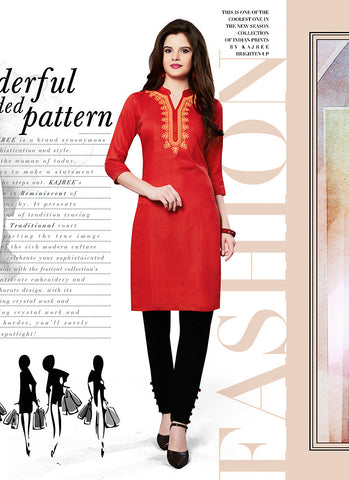 Red Color Cotton in Incredible Straight Kurti Style