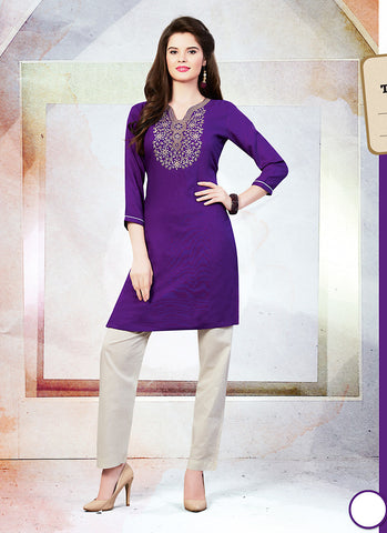 Incredible Straight Kurti in Cotton & Purple Color