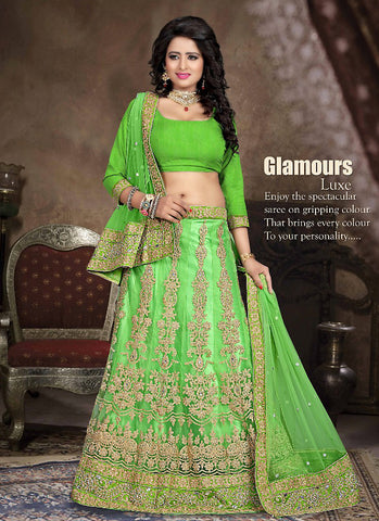 Women's Net Fabric & Lime Green Color Pretty A Line Lehenga Style With Crystals Stones Work Dupatta