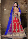 Women's Pretty A Line Lehenga Style in Crimson Color With Crystals Stones Work Dupatta