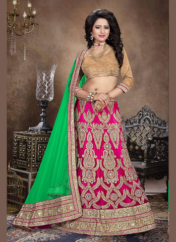 Women's Deep Pink Pretty A Line Lehenga Style With Crystals Stones Work Dupatta