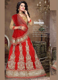 Women's Deep Scarlet Color Pretty A Line Lehenga Choli With Crystals Stones Work Dupatta
