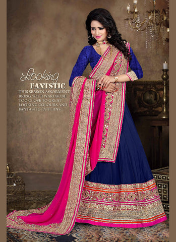 Women's Net Fabric Navy Blue Pretty Unstitched Lehenga Choli With Lace Work Dupatta