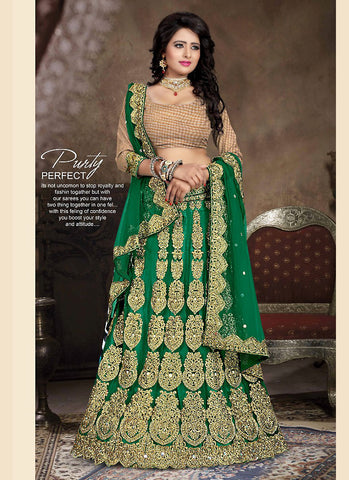 Women's Net Fabric & Bottle Green Pretty A Line Lehenga Style With Lace Work Dupatta