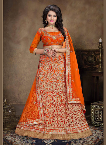 Women's Net Fabric & Orange Pretty A Line Lehenga Style With Crystals Stones Work Dupatta