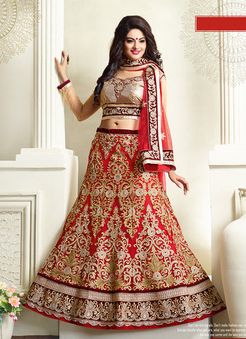Women's Net Fabric Red Pretty Unstitched Lehenga Choli With Resham Work Dupatta