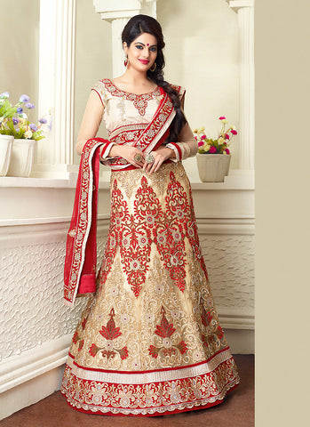 Women's Net Fabric & Beige Pretty A Line Lehenga Style With Resham Work Dupatta