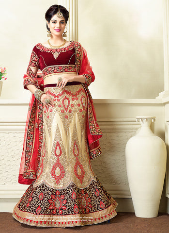 Women's Net Fabric Beige Pretty Unstitched Lehenga Choli With Resham Work Dupatta