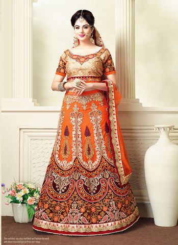 Women's Net Fabric & Orange Pretty A Line Lehenga Style With Resham Work Dupatta