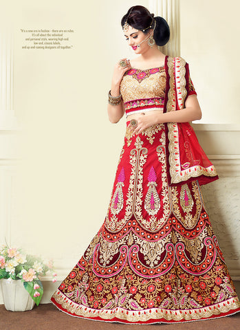 Women's Red Pretty A Line Lehenga Style With Resham Work Dupatta