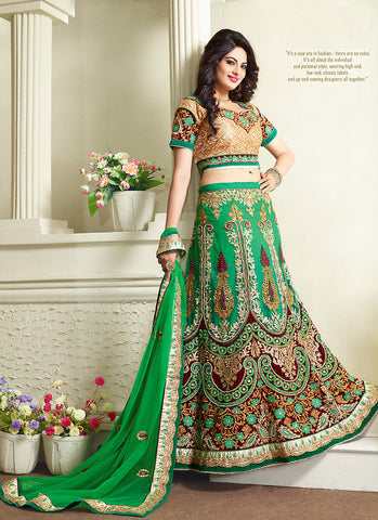 Women's Pretty A Line Lehenga Style in Chrome Green With Resham Work Dupatta