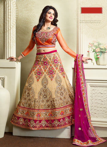 Women's Georgette Fabric & Brown Pretty Unstitched Lehenga Choli