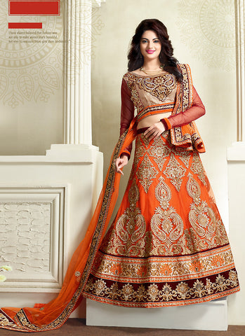 Women's Net Fabric Orange Pretty Unstitched Lehenga Choli With Resham Work Dupatta