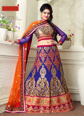 Women's Pretty A Line Lehenga Style in Blue With Lace Work Dupatta