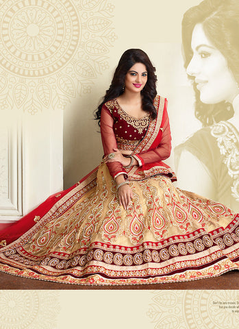 Women's Beige Pretty A Line Lehenga Style With Resham Work Dupatta