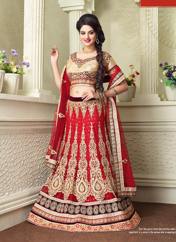 Women's Net Fabric & Crimson Pretty A Line Lehenga Style With Lace Work Dupatta