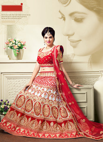 Women's Pretty A Line Lehenga Style in White With Lace Work Dupatta