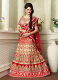 Women's Tan Brown Pretty A Line Lehenga Style With Resham Work Dupatta