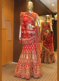 Women's Pretty A Line Lehenga Style in Red With Bugle Beads Cutdana Work Dupatta