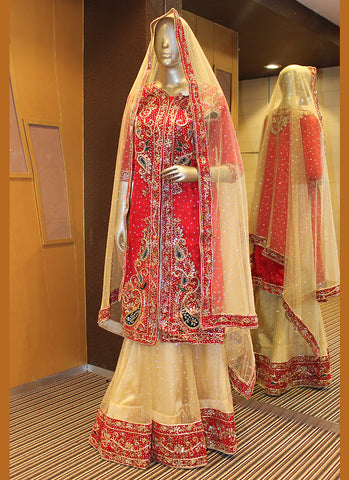 Women's Beige Pretty A Line Lehenga Style With Lace Work Dupatta
