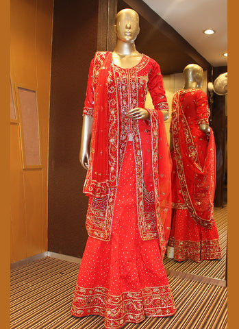 Women's Dupioni Raw Silk Fabric Red Pretty Unstitched Lehenga Choli With Resham Work Dupatta