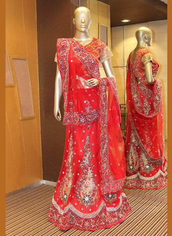 Women's Red Pretty A Line Lehenga Choli With Lace Work Dupatta