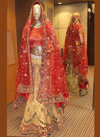 Women's Net Fabric & Beige Color Pretty A Line Lehenga Style With Crystals Stones Work Dupatta