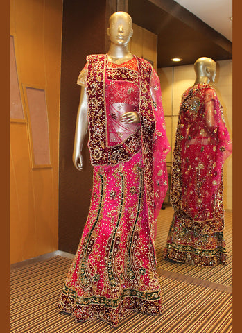Women's Deep Pink Color Pretty A Line Lehenga Style With Crystals Stones Work Dupatta