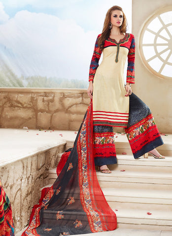 Beige with Resham Work Astounding Unstitched Salwar Kameez