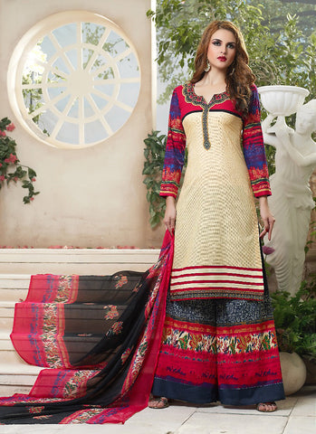 Cotton Beige Astounding Unstitched Salwar Kameez