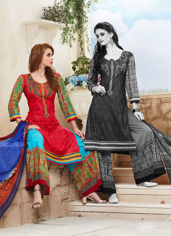 Cotton Red Astounding Unstitched Salwar Kameez