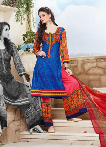 Cotton Blue Color Wonderful Unstitched Salwar Kameez