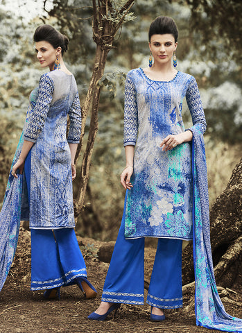 Gray Color Cotton Incredible Salwar Kameez