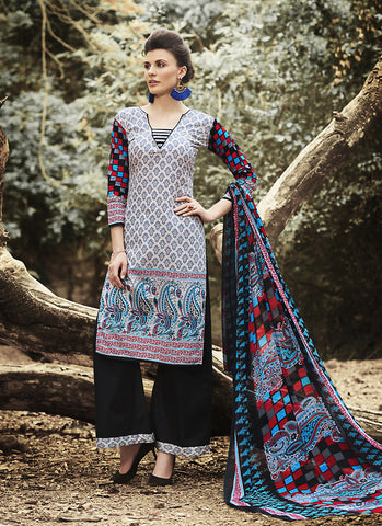 Straight Cut Style Gray with Printed Work Astounding Unstitched Salwar Kameez