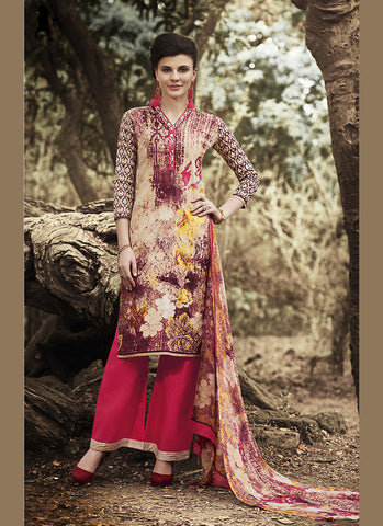 Straight Cut Style Beige with Printed Work Astounding Unstitched Salwar Kameez