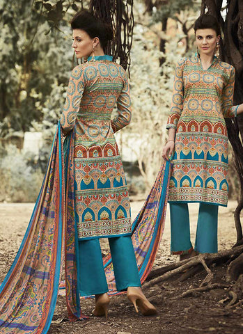 Straight Cut Style Brown with Printed Work Wonderful Unstitched Salwar Kameez