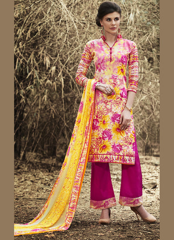 Straight Cut Style Astounding Salwar Kameez in Multiple & Cotton Fabric