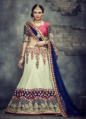 Women's Cream Pretty A Line Lehenga Style With Crystals Stones Work Dupatta
