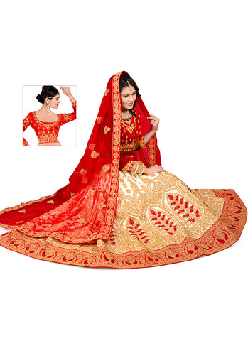 Women's Pretty Circular Lehenga Style in Off White Color With Resham Work Dupatta