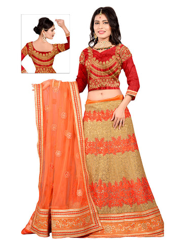 Women's Tan Brown Color Net Fabric Pretty Unstitched Lehenga Choli With Resham Work Dupatta