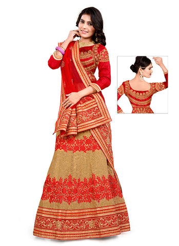 Women's Pretty A Line Lehenga Style in Brown With Resham Work Dupatta
