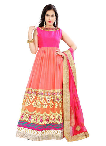 Anarkali Style Incredible Salwar Kameez in Pink & Net Fabric