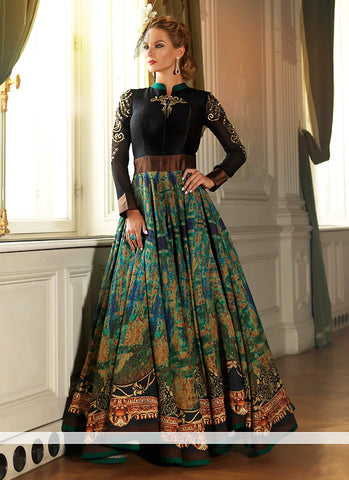 Black Silk Incredible Salwar Kameez in Anarkali Style