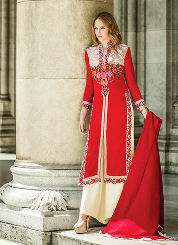 Achkan Style Red with Butta Work Astounding Unstitched Salwar Kameez