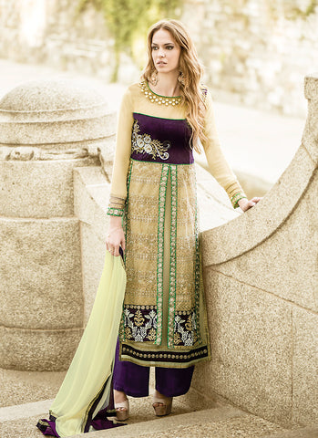 Straight Cut Style Cream with Sequins Work Astounding Unstitched Salwar Kameez