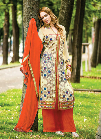 Achkan Style Cream Georgette Incredible Salwar Kameez